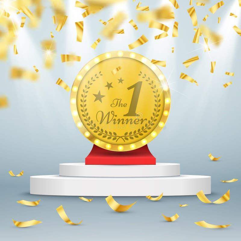 Zwycięzcy tło Pierwszy miejsce rywalizacja Podium z światłami reflektorów i confetti ilustracji