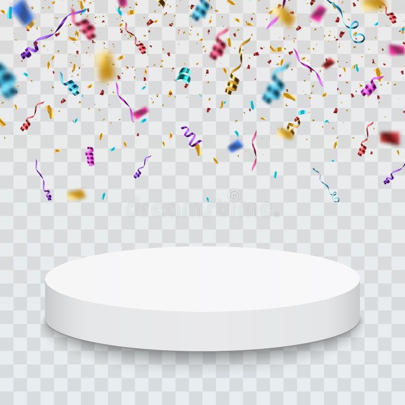 Zwycięzcy tło Podium z confetti również zwrócić corel ilustracji wektora ilustracja wektor