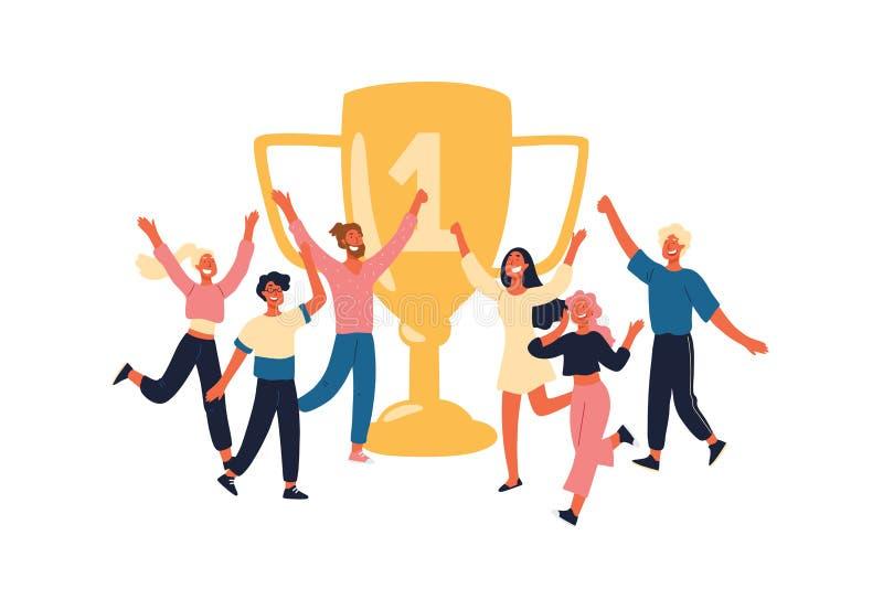 Zwycięzcy z złotym trofeum, rozochoceni członek zaspołu szczęśliwi z nagrodą, filiżanka, mistrzowie, sportowowie z pierwszy miejs ilustracja wektor