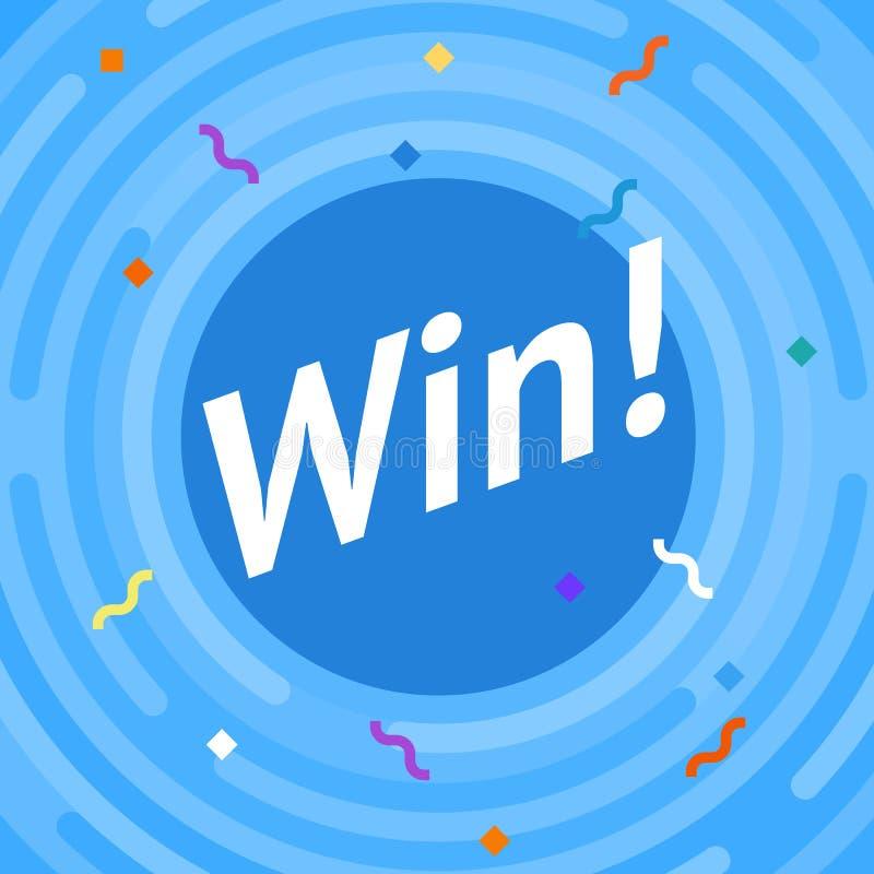 Zwycięzcy znak Gratulacje wygrany sztandar Płaska wektorowa zwycięzca ilustracja Zwycięstwo sztandar z liniami, zaokrągleni kąty ilustracja wektor