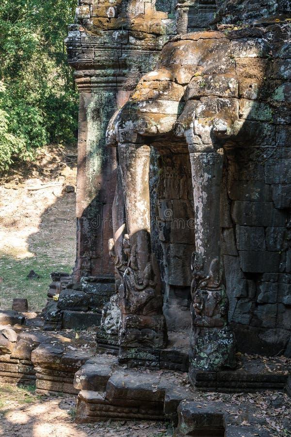 Zwyci?stwo brama Angkor Thom przy Siem Przeprowadza ?niwa, Kambod?a obraz stock