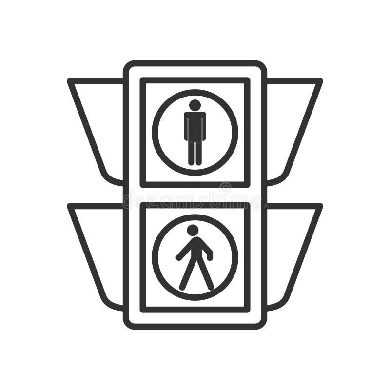 Zwyczajna światła ruchu konturu ikona na bielu ilustracji