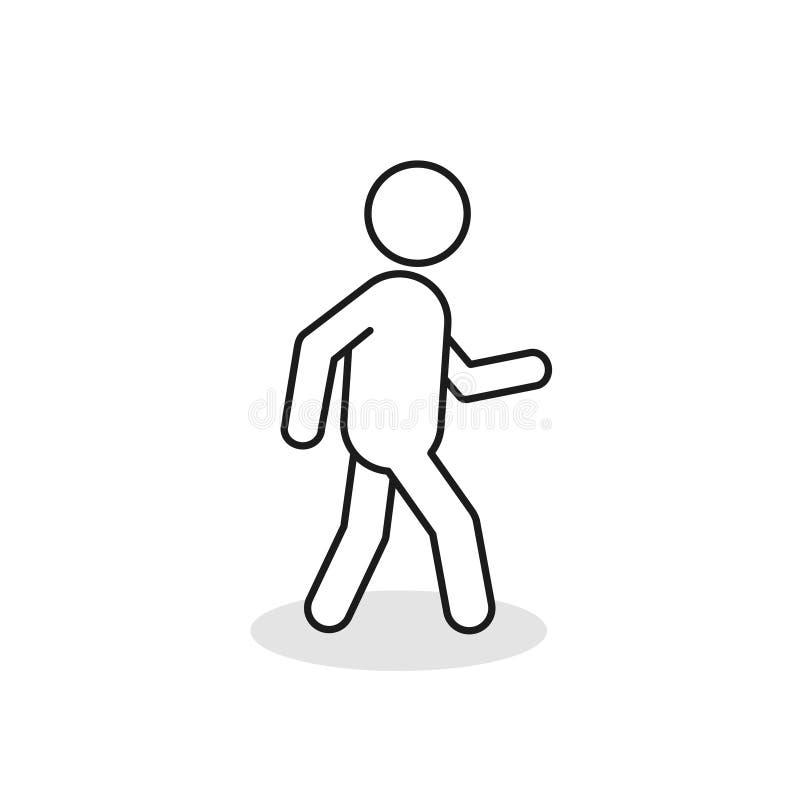 Zwyczajna kontur ikona Chodząca mężczyzna wektoru linii znaka sylwetka Odizolowywająca Na Białym tle zdjęcia royalty free
