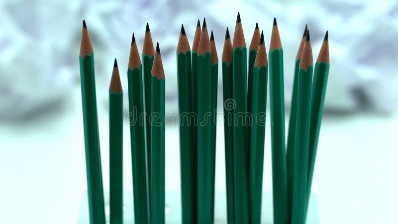 Zwyczajni drewniani ołówki, biurowy materiały, biznes i szkoła, podobieństwo fotografia stock