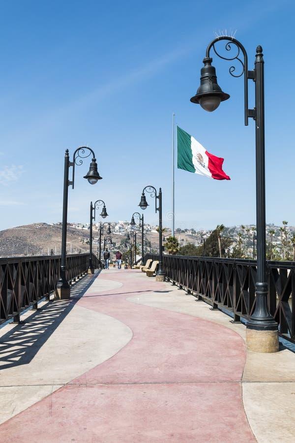 Zwyczajny most i Boardwalk w Ensenada, Meksyk obraz stock