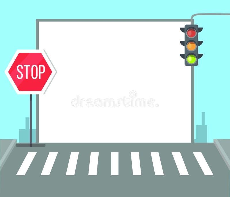 Zwyczajny skrzyżowanie z przerwa znakiem, światła ruchu royalty ilustracja