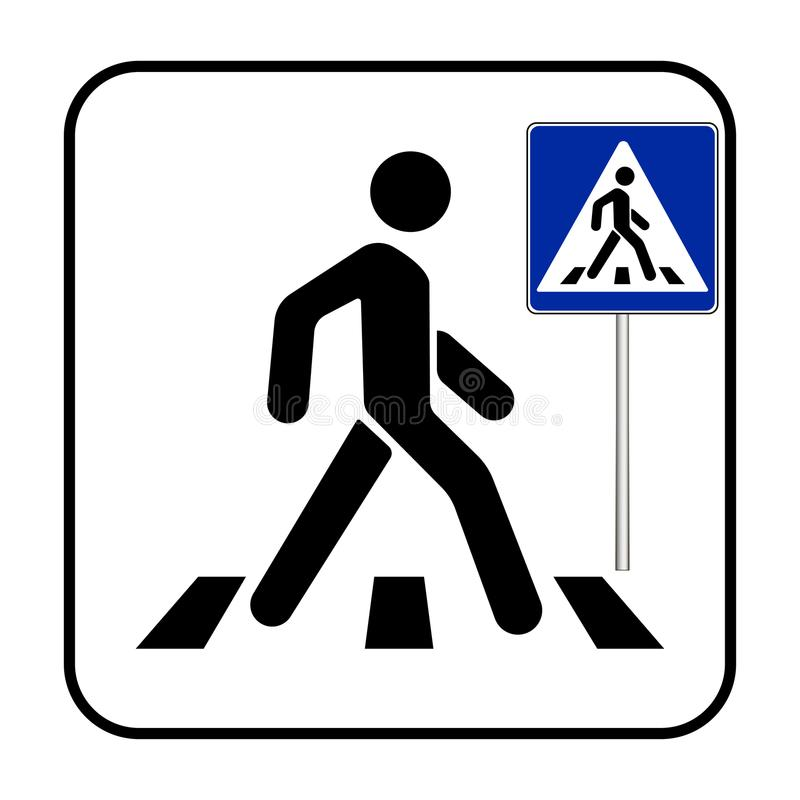Zwyczajny skrzyżowanie znaka, zwyczajny crosswalk znak ilustracja wektor