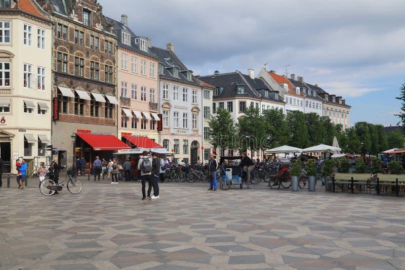 Zwyczajny teren Stroget, Kopenhaga zdjęcia stock