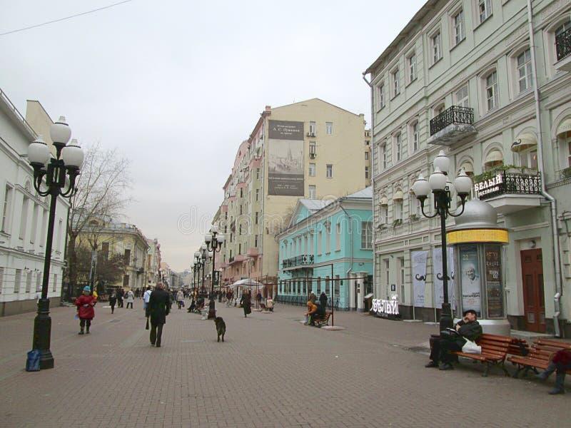 Zwyczajny uliczny Stary Arbat w Moskwa obrazy stock