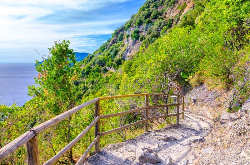 Zwyczajny wycieczkuje kamienny ścieżka ślad z poręczem między Corniglia i Vernazza wioskami z zielonymi drzewami, niebieskiego ni fotografia royalty free