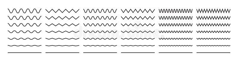 Zygzakowaci fali linii wzory, gładkiej końcówki squiggly horyzontalny wektor wykładają, curvy podkreślenia royalty ilustracja
