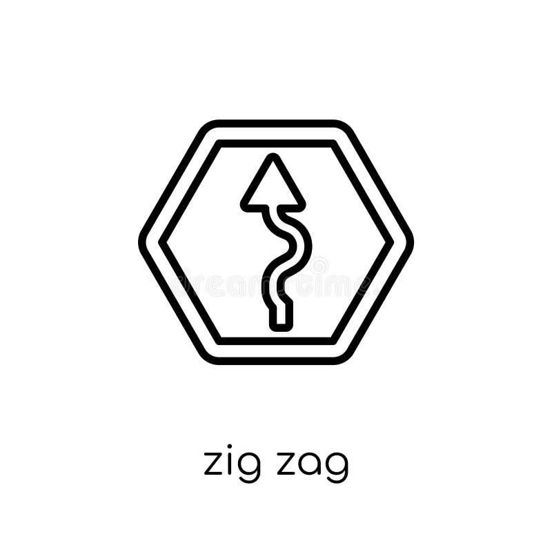 Zygzakowata szyldowa ikona Modny nowożytny płaski liniowy wektoru Zig Zag znak ilustracji