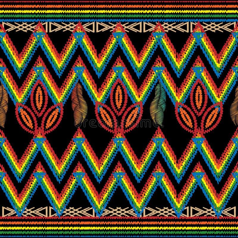 Zygzakowaty hafciarski plemienny wektorowy bezszwowy wzór Szewronu colorf royalty ilustracja