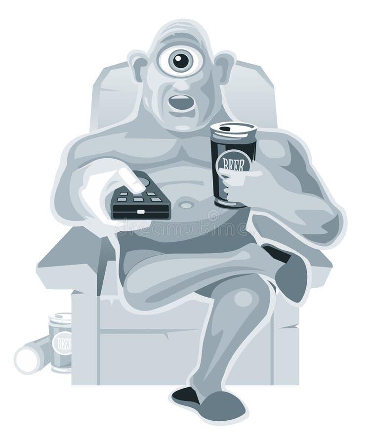Zyklope sitzt in einem aufpassenden Fernsehen des Stuhls und hält die Fernbedienung und das Bier vektor abbildung