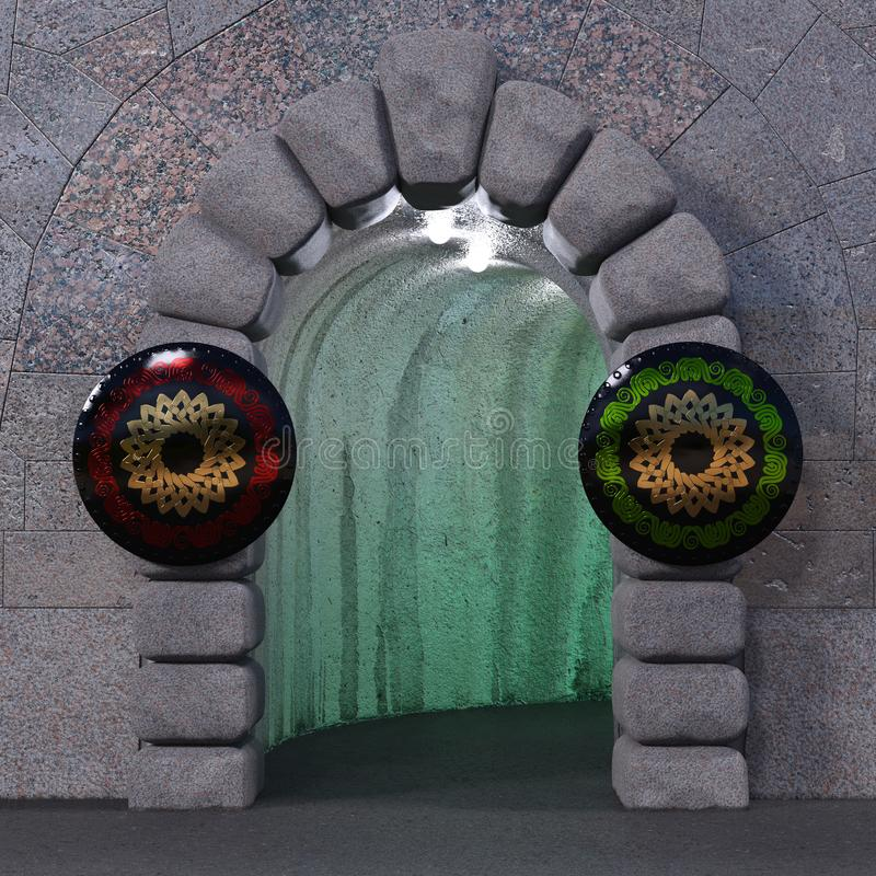 Zyklopisches Steintor mit zwei Schildern stock abbildung