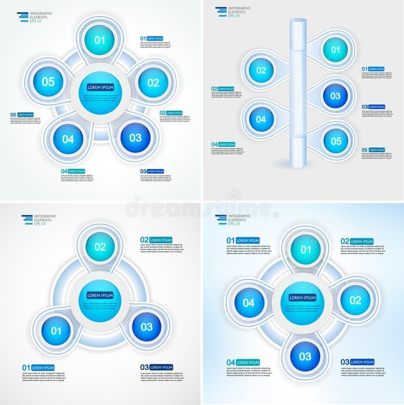 Zyklusprozeßdiagrammsammlung Infographic-Vektorschablone für Berichte, Pläne, Darstellung, Netz vektor abbildung