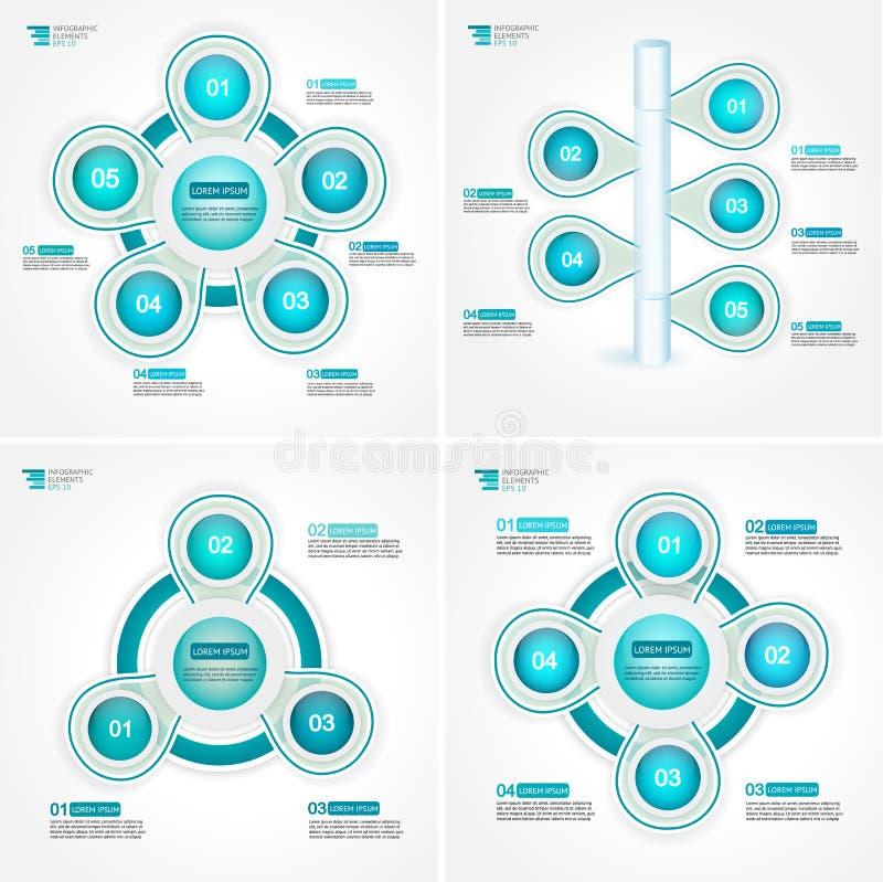 Zyklusziel-Prozessschritt stellt Sammlung grafisch dar Infographic-Vektorschablone für Berichte, Pläne, Darstellung stock abbildung