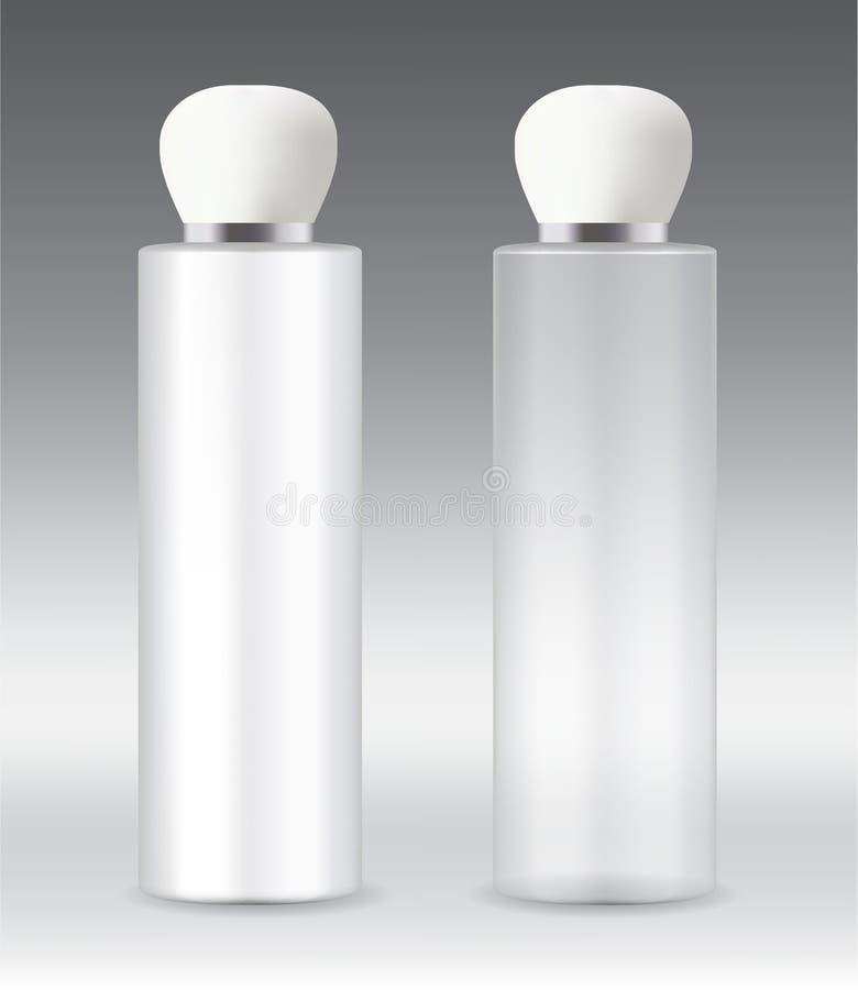 ZYLINDER-Verpackungsartikelflaschen des bewölkten und transparenten Haustieres Plastik lizenzfreie abbildung