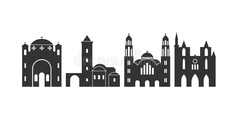 Zypern-Logo Lokalisierte Zypern-Architektur auf weißem Hintergrund vektor abbildung