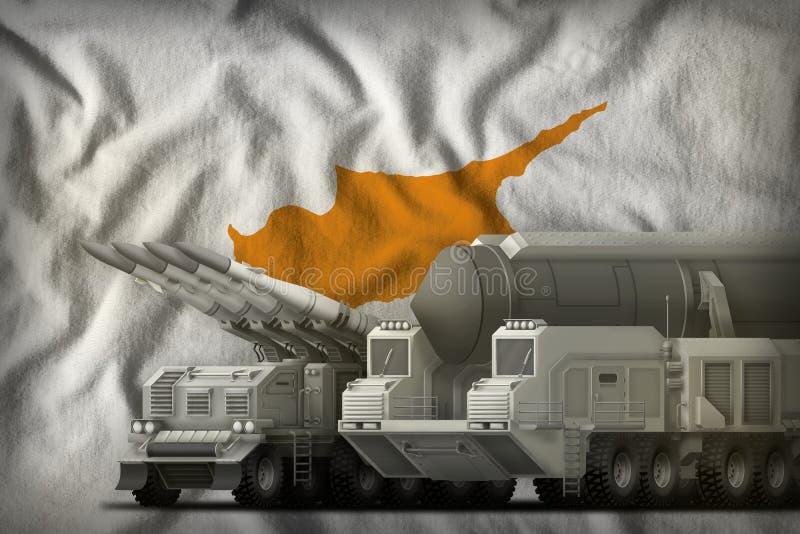 Zypern-Raketentruppenkonzept auf dem Staatsflaggehintergrund Abbildung 3D stock abbildung