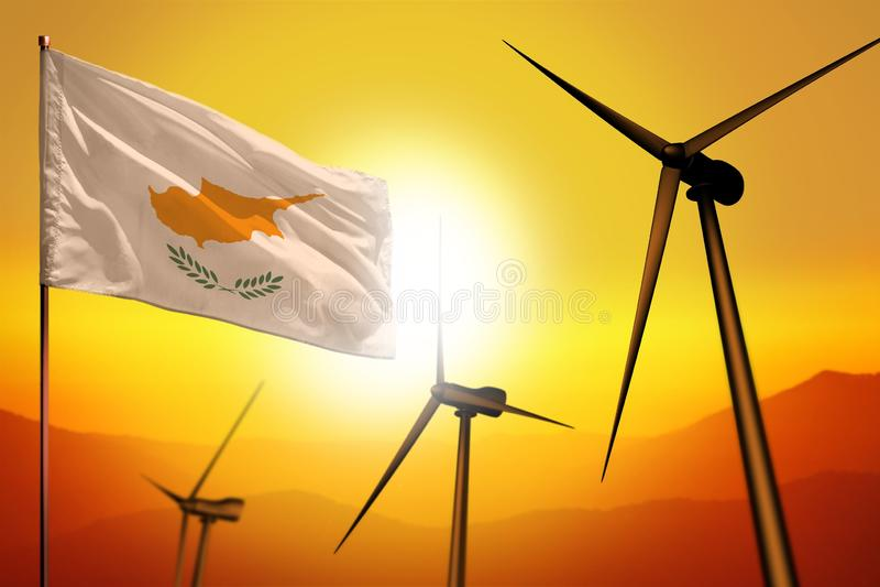 Zypern-Windenergie, Umweltkonzept der alternativen Energie mit Windkraftanlagen und Flagge auf industrieller Illustration des Son stock abbildung