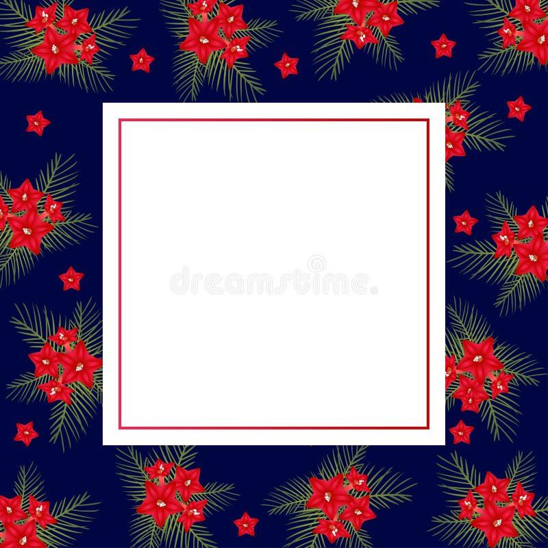 Zypresse-Rebblüte auf Weihnachtsblauer Fahnen-Karte Auch im corel abgehobenen Betrag stock abbildung