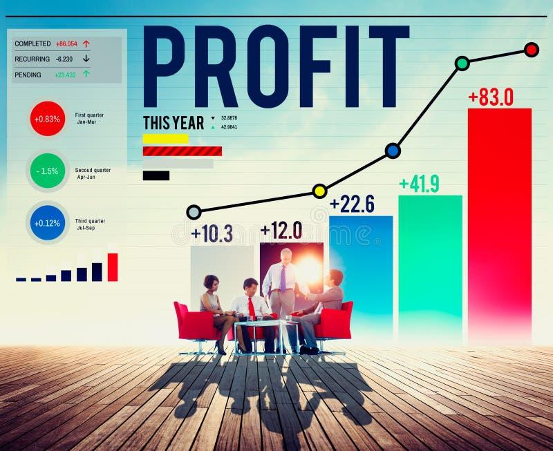 Zysk korzyści Pieniężnego dochodu przyrosta pojęcie zdjęcie royalty free