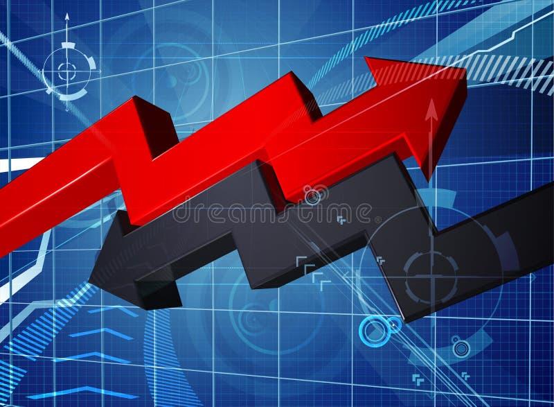 Zysk straty wykresu Biznesowy Strzałkowaty tło ilustracji