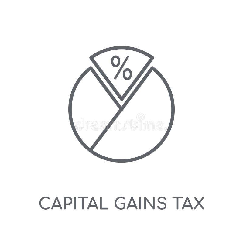 Zyski kapitałowi opodatkowywają liniową ikonę Nowożytny konturów zysków kapitałowych podatek ilustracja wektor