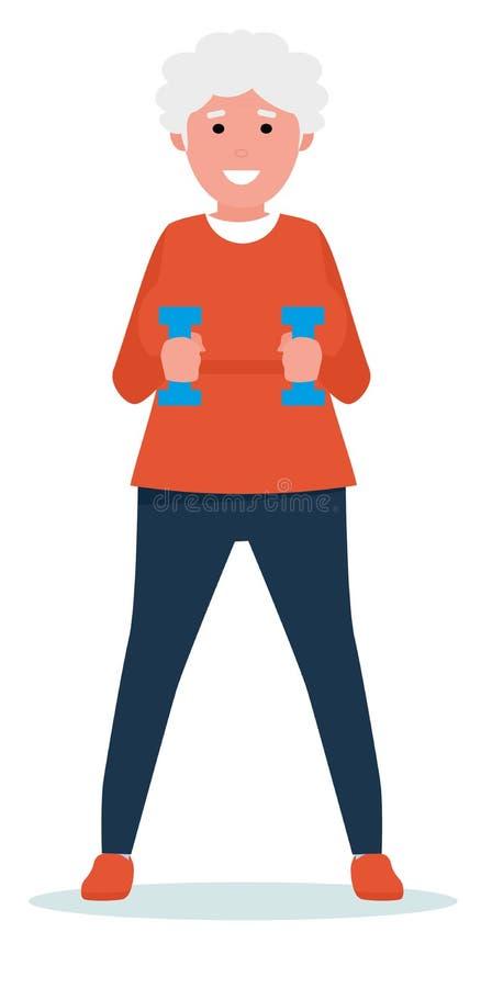 Zyskiwać siłę Entuzjastyczna starsza kobieta ćwiczy z parą dumbbells i ono uśmiecha się z ręcznikiem wokoło jej szyi ilustracja wektor