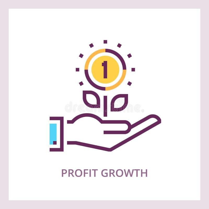 Zysku przyrosta ikona Inwestycje i savings biznesu pojęcie Wektorowy liniowy piktogram ilustracja wektor