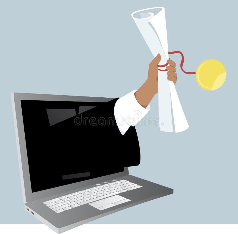 Zyskuje stopień online ilustracja wektor