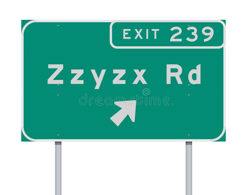 Zzyzx Route Exit direction Road sign. Vector illustration of the Zzyzx Route Exit direction green Road sign royalty free illustration