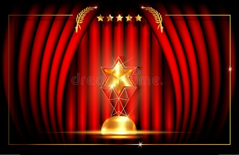 Hollywood luxury Template concept, Red Stage Curtain, vector illustration abstract golden stars frame logo icon, red carpet, Vip C. Ard event, gold star trophy vector illustration