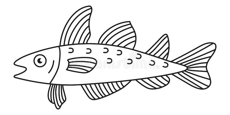 Cod fish vector icon. Cod fish doodle line simple vector icon vector illustration