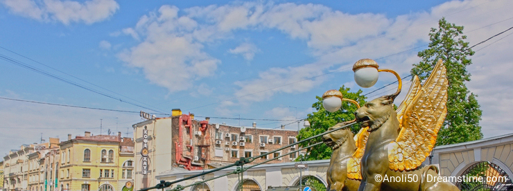 Bank Bridge in Saint Petersburg, Russia. HDR