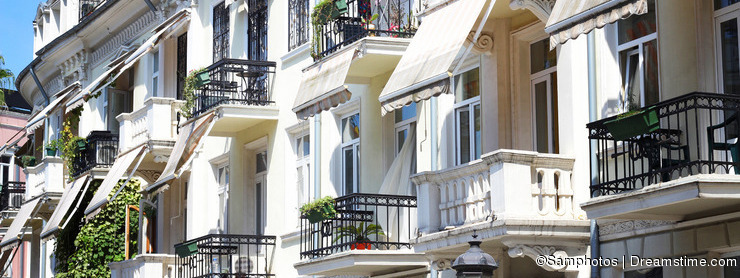 Hotel with beautiful balconies