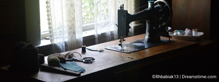 Antique Sewing Machine and Sewing Notions