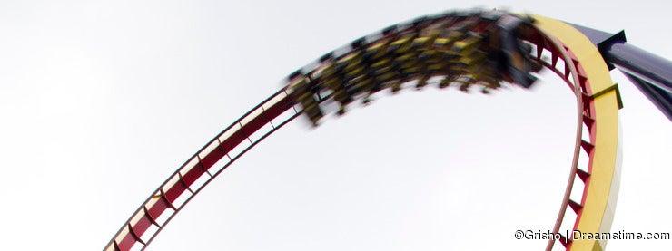 Motion blurred roller coaster