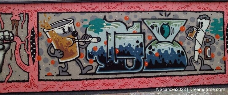 A graffiti wall in autumn