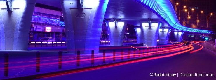 Passage lit up at night