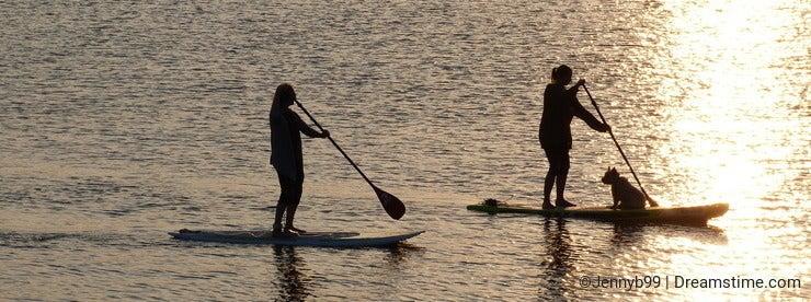 Girls paddle boarding on the Exe estuary in Devon UK