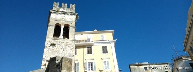Steeple in the old town of Corfu