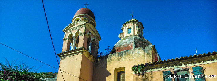 Old Steeples in churches in Corfu