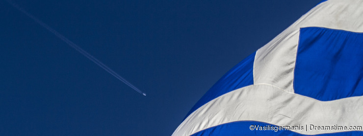 Greek Flag and airplane