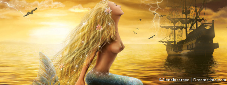 Sea Mermaid with Ghost Ship at Sunset background