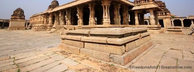 Historic ruins of a fort at Hampi, India