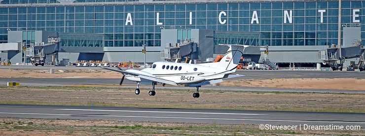 A Light Aircraft Arrives At Alicante Airport