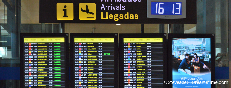 Arrivals Board At Alicante Airport