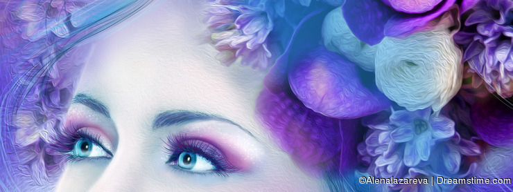 Face of Fantasy beautiful woman with a blue lilac flower